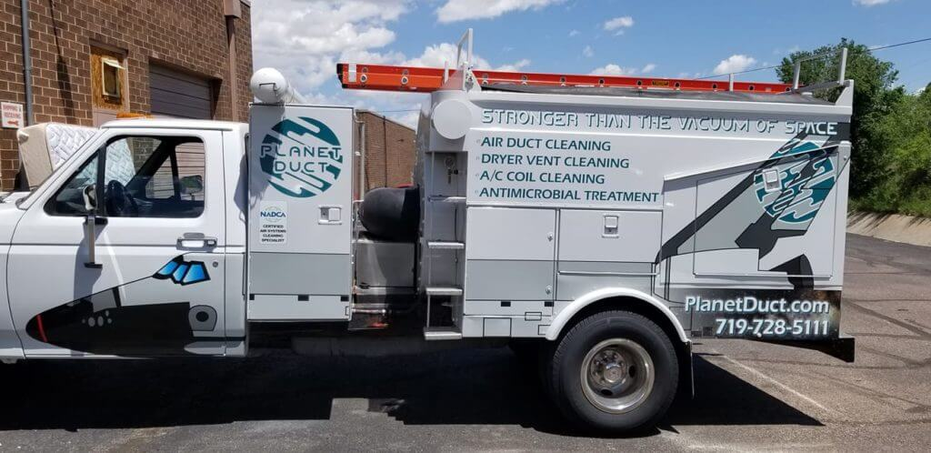 Planet Duct Air Duct Cleaning Truck outside in Colorado Springs