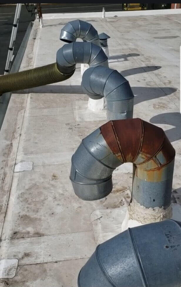 Duct work on the top of a commercial building
